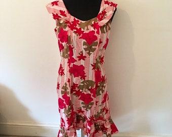 Original vintage 50s pink floral HAWAIIAN dress