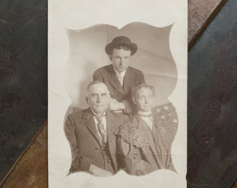 RPPC of Family with American Flag