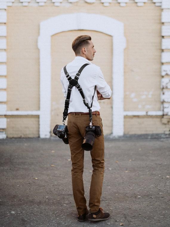 Double Multi caméra harnais bandoulière en cuir fait à la main