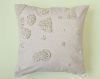 Jolene hand embroidered beige linen Cushion cover