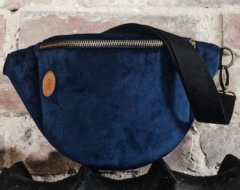 Dark blue velvet Fanny Pack,  Custom Made, Slow Fashion, High Quality