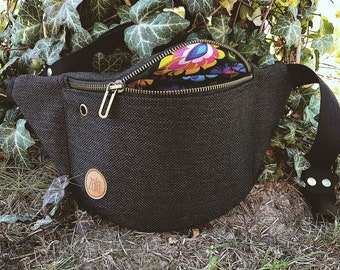 black folky Fanny Pack,  Custom Made, Slow Fashion, High Quality