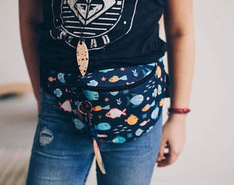 Cartoon Fishes Fanny Pack,  Custom Made, Slow Fashion, High Quality