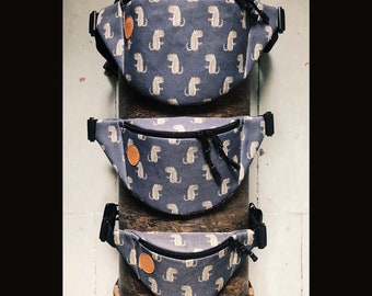Dino Fanny Pack,  Custom Made, Slow Fashion, High Quality