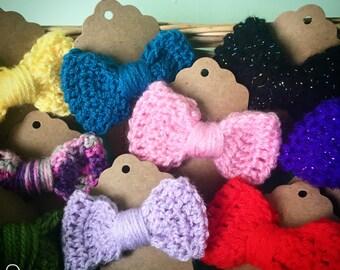 Small handmade crochet hair bow