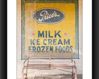 Fine Art Print of Nostalgic Outdoor Sign, Marathon, Texas, Yellow Sign, Photograph