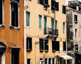 Old Italian street in the colorful city of Venice, Wall decor, Photography print