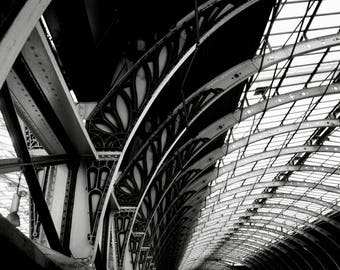 Black and White Photography, Train Station, Architecture, Steel, Abstract, Wall Decor, Photography Print