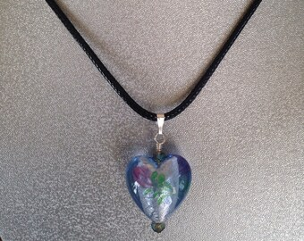 Heart Necklace, Bead Heart Pendant Necklace, Murano heart bead necklace, Murano glass heart bead necklace, Glass heart bead necklace,Gifts