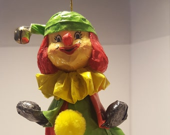 Clown Paper Mache Christmas Ornament Vintage
