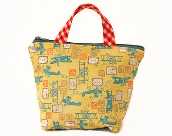 duck blue gold Bag cloudpea patterns storage bag double cotton gauze toy bag mustard
