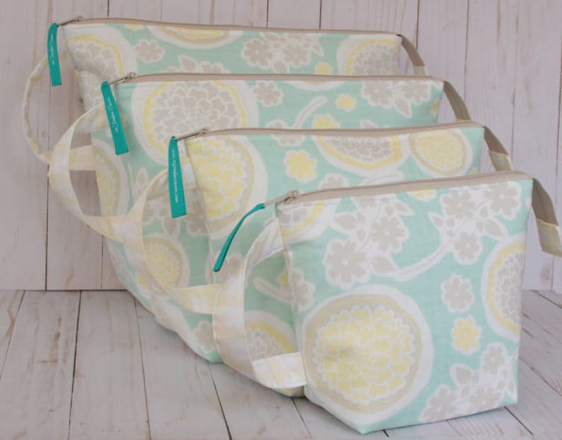Mint and Yellow Floral Full Set of Project Bags sizes Small image 0