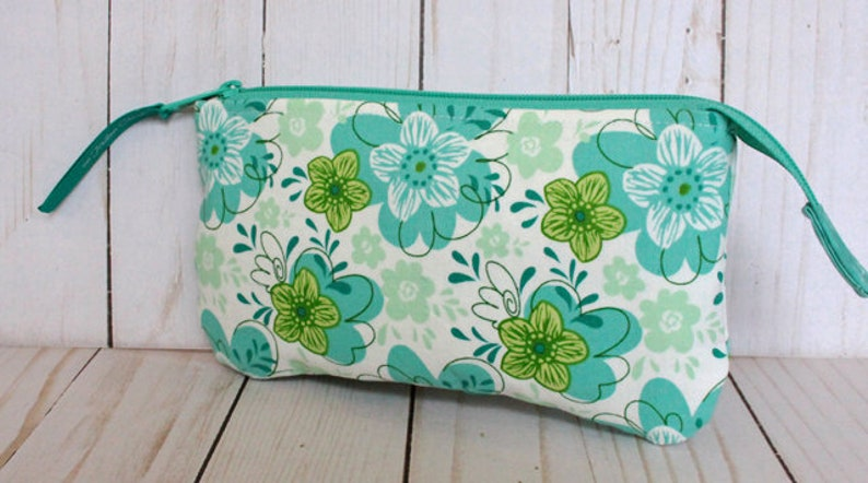 Teal Floral Pouch Notions Pouch image 0