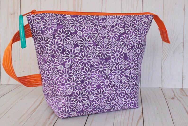 Medium Purple Floral & Orange Project Bag Knitting Bag image 0