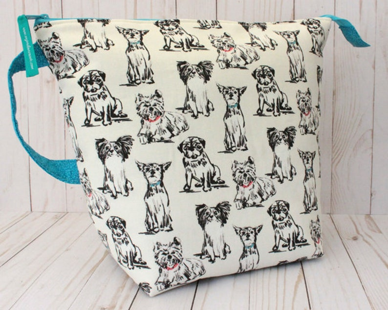 X-Large Dog Sketches Project Bag Knitting Bag image 0