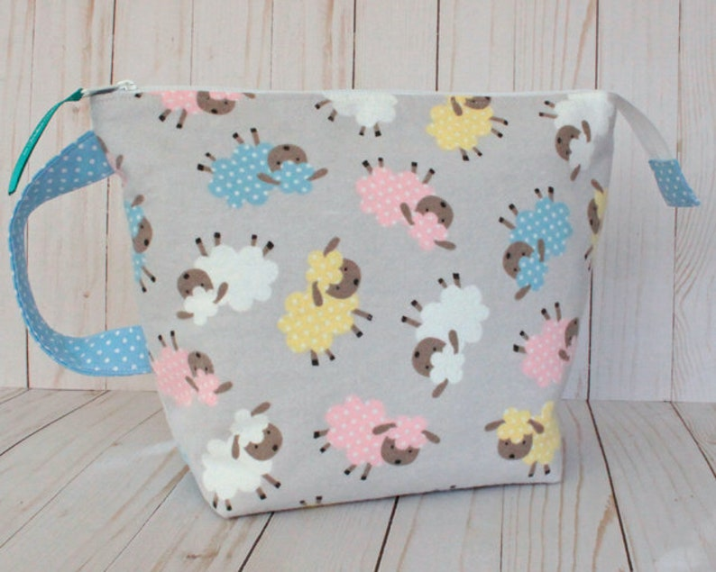 Little Lambs Medium Project Bag Knitting Bag image 0