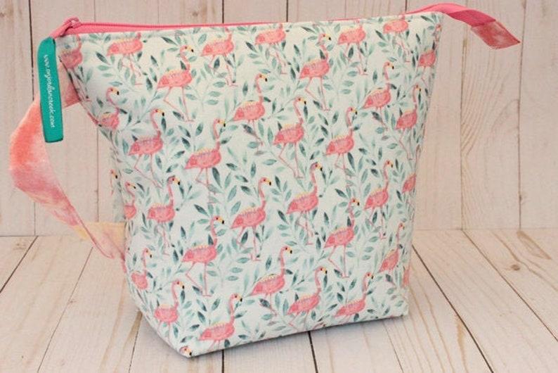 Medium Judy's Flamingos Project Bag Knitting Bag image 0