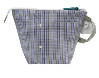 Green & Blue Plaid Large Project Bag, Upcycled Line