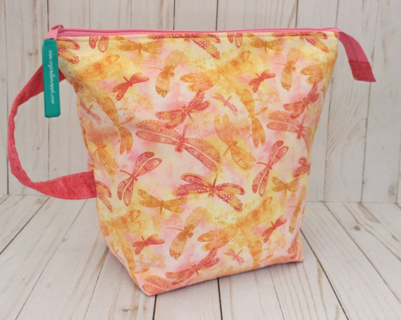 Large Sunset Dragonfly Project Bag Knitting Bag image 0
