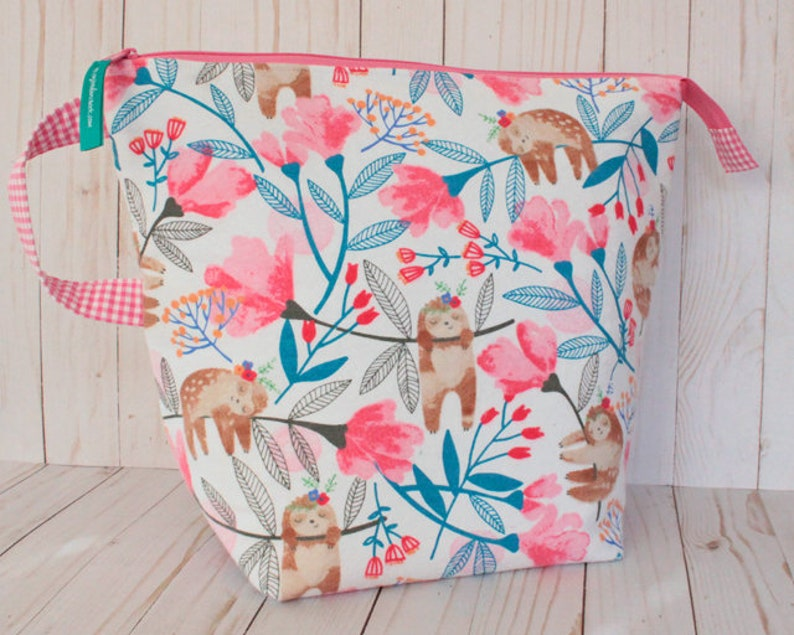 Sloth Floral X-Large Project Bag Knitting Bag image 0