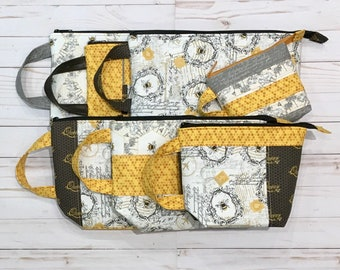 Busy Bees Project Bag Collection - Your Choice of sizes X-Small, Small, Medium, Large, & X-Large