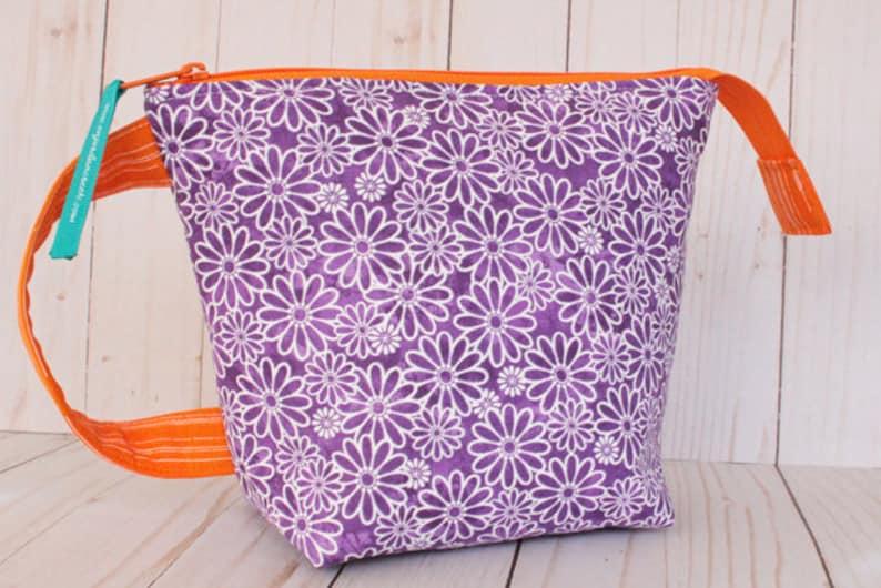 Small Purple Floral  Orange Project Bag Knitting Bag image 0