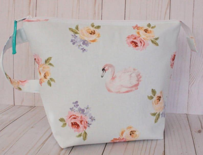 Large Swan Floral Project Bag Knitting Bag image 0