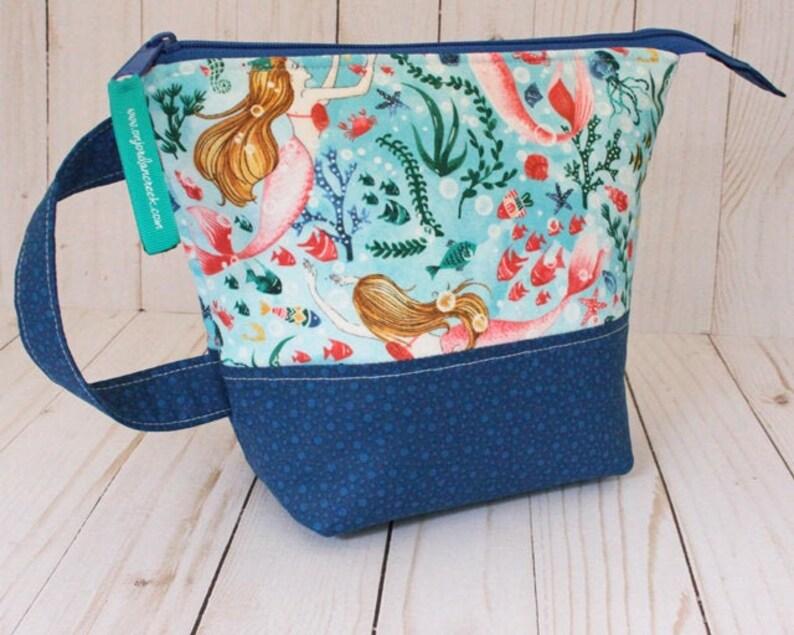 Small Mermaid & Starfish Project Bag Knitting Bag image 0