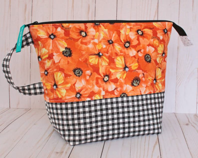 Large Poppies  Gingham Project Bag Knitting Bag image 0