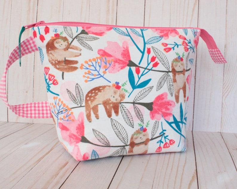 Medium Sloth Floral Project Bag Knitting Bag image 0