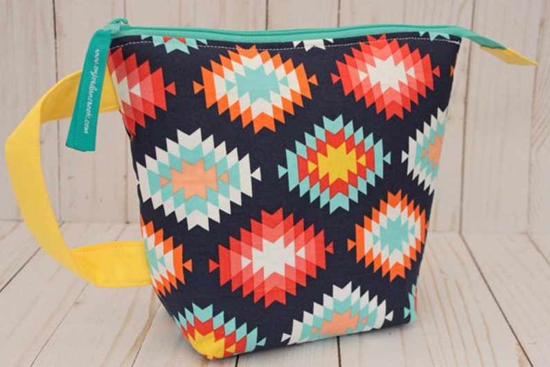 Small Navy Aztec Project Bag Knitting Bag image 0