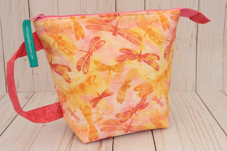 Small Sunset Dragonfly Project Bag Knitting Bag image 0
