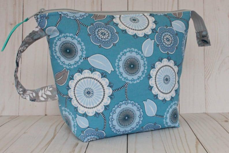 Medium Blue  Gray Floral Medallion Project Bag Knitting Bag image 0