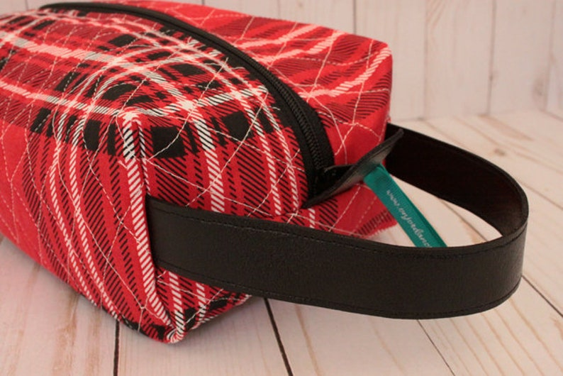 Red & Black Plaid Toiletry Bag Travel Bag Shaving Kit image 0