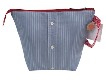 Blue Stripe + Red Floral Large Project Bag, Upcycled Line