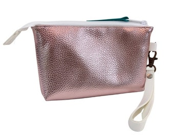 The Essential Wristlet, Shiny Pink Textured Vinyl, Small