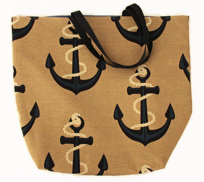 Anchors/Blue Striped Reversible Tote Bag Jumbo image 0