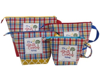 South Carolina Plaid Project Bag Collection, your choice of sizes Small, Medium, Large & X-Large, Classic Plus