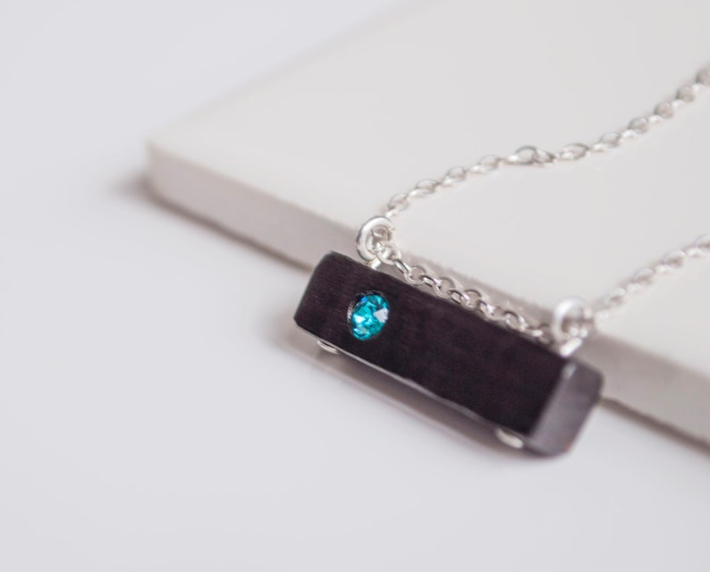Minimalist Necklace Birthstone Jewelry December Birthstone Blue Zircon Wood Bar Necklace with Antique Brass or Sterling Silver Chain