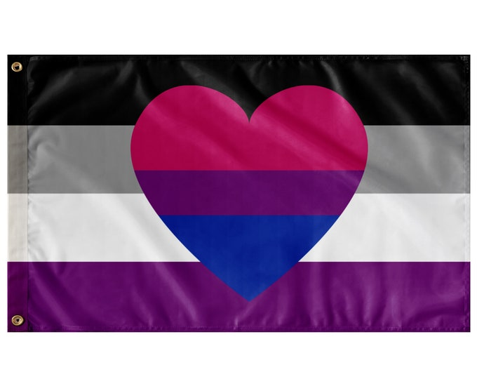 """Featured listing image: Asexual Biromantic Pride Wall Flag 