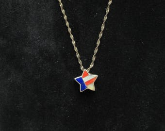Unusual Enameled Star Necklace Red, White and Blue