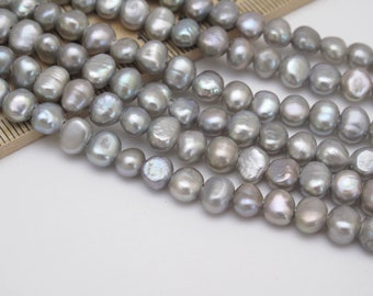 6-6.5mm Silver Gray Potato Pearl Beads Gray Seed Pearls Silver Gray Pearl Beads 727-FP High Luster Genuine Cultured Freshwater Pearls
