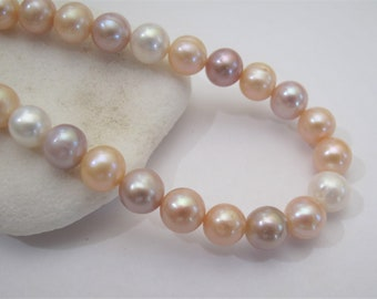 a09940ae 8mm Full Strand-Mutli Natural Color Freshwater Pearl Beads,High Luster  Mixed Pink Off Round Cultured Pearl Beads,Genuine Pearls (718-FP)