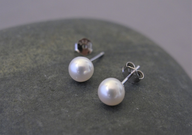 ed49e97fd 5mm AAA Natural Freshwater White Pearl Stud Earrings.925 | Etsy