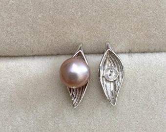 One Pair-925 Sterling Silver Leaf Stud Earring Findings, Pearl Peg Post Earring Mounts, Half Drilled Pearl Post Earring Settings (5029-EF)