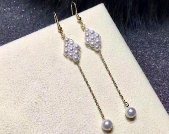 Freshwater Pearl Dangle Earrings With 14K Gold Filled Earwire,Long Pearl Earrings in 14K Gold Filled Earring Hook Bridal Bridesmaid Earrings