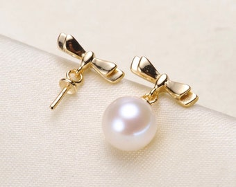 925 SterlingSilver OR Gold Bow Earring Setting for Half Drilled Pearl Beads, DIY Jewelry, 925 Sterling Earring Mounting Findings (EF-377)