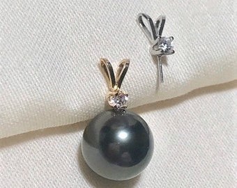 Solid 18K Gold / White Gold Rabbit Ear Drop Pendant Setting w/CZ for Half Drilled Pearls,Pearl Peg Pendant Bail,Pearl Pendant Mounts(NK-620)