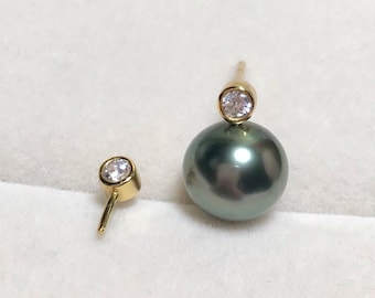 925 Sterling Silver/Gold Stud Earring Setting with 3mm Cubic Zirconia,Half Drilled Pearls DIY Earring Findings,Pearl Earring Mounts(EF-509)
