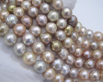 11-14mm Beautiful AAA Natural Color Jumbo Baroque Pearl Beads,Very High Luster & Quality Natural Kasumi Baroque Edison Pearl Beads(1007-BQ)